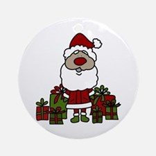 Santa With Gifts Ornament (Round)