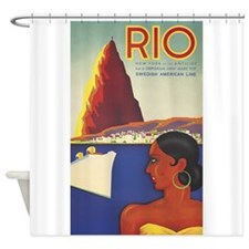 Rio, Travel, Vintage Poster Shower Curtain