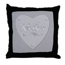 Mother Engraved Silver Plate Throw Pillow