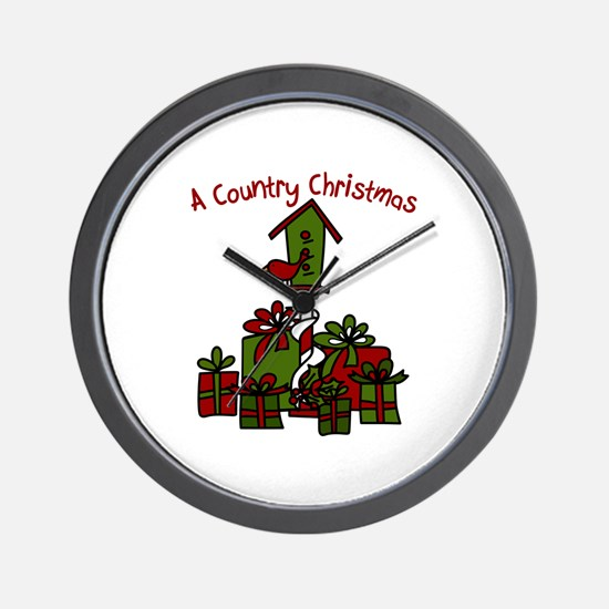 A Country Christmas Wall Clock