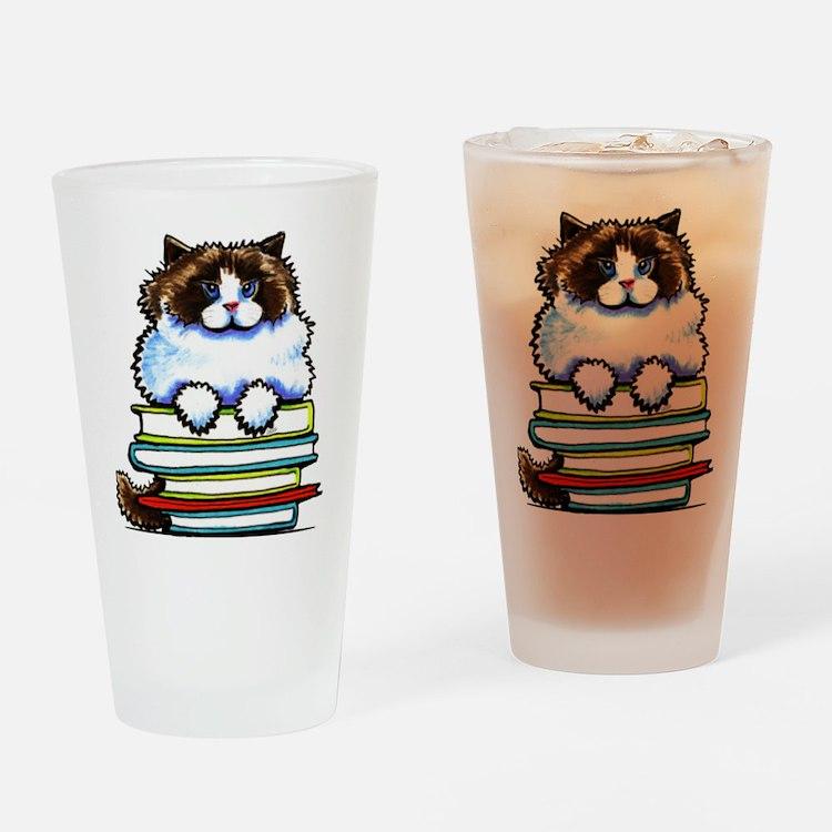 Ragdoll Cat Books Drinking Glass