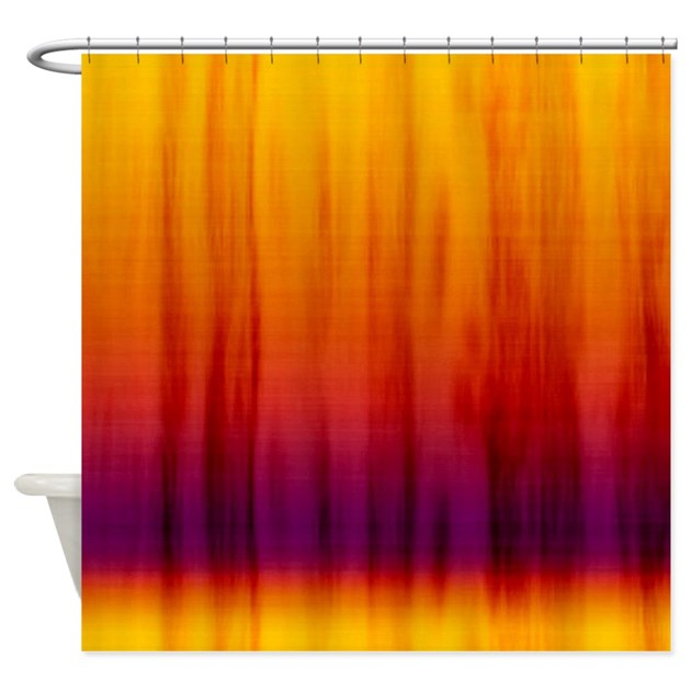 Orange And Purple Fabric Shower Curtain By Cuteprints