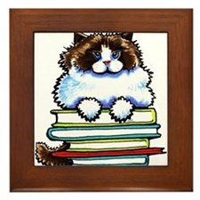 Ragdoll Cat Books Framed Tile