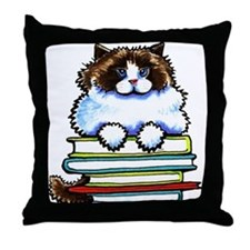 Ragdoll Cat Books Throw Pillow