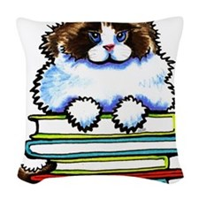 Ragdoll Cat Books Woven Throw Pillow