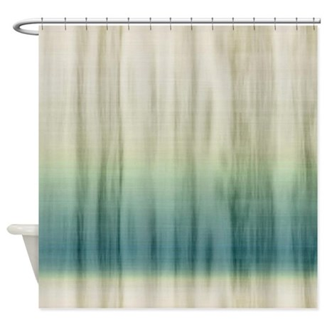 Grey And Blue Fabric Shower Curtain By Cuteprints