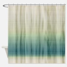 Grey And Blue Fabric Shower Curtain