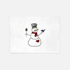Snowman With Bird 5'x7'Area Rug