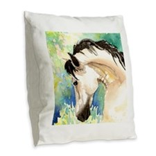 Spring Horse Burlap Throw Pillow