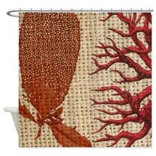 shabby chic vintage red coral burlap Shower Curtai