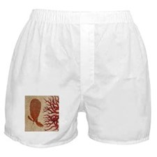 shabby chic vintage red coral burlap Boxer Shorts