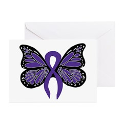 Relay For Life - Purple Ribbo Greeting Cards (Pack
