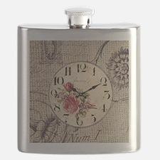 vintage paris clock french fashion decor Flask