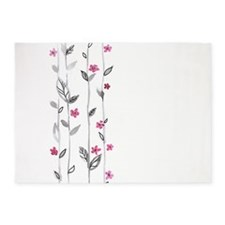 Watercolor Flowers 5'x7'Area Rug