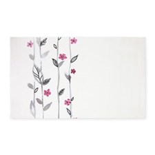 Watercolor Flowers 3'x5' Area Rug