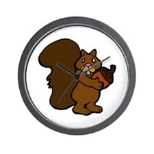 Shy Squirrel with Acorn Wall Clock