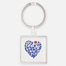 Alaska Heart Square Keychain