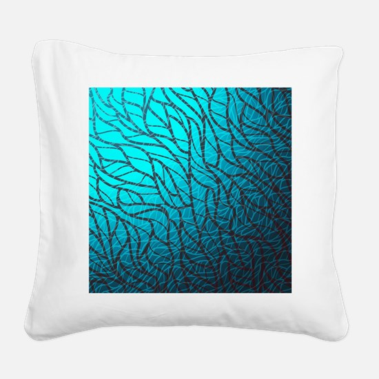 Teal Abstract Square Canvas Pillow