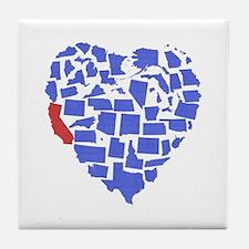 California Heart Tile Coaster