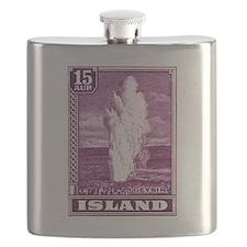 Antique 1938 Iceland Geysir Postage Stamp Flask