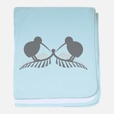 Two silver ferns and kiwi birds baby blanket