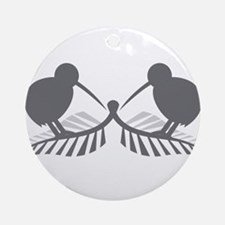 Two silver ferns and kiwi birds Ornament (Round)