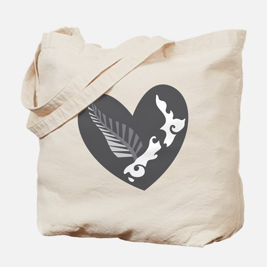 Love heart KIWI silver fern New Zealand Tote Bag
