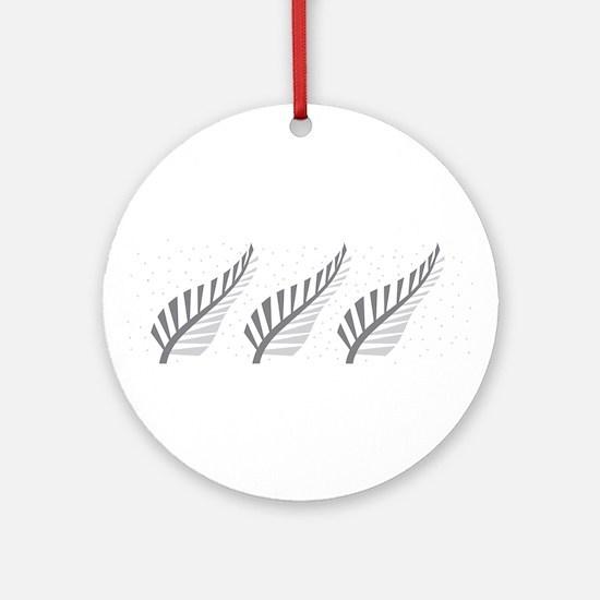 Three silver ferns Ornament (Round)