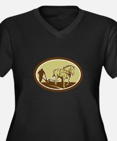 Horse and Farmer Plowing Farm Oval Retro Plus Size