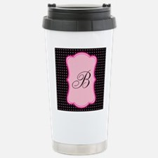 Personalizable Initial on Pink and Black Travel Mu
