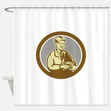 Granny Cook Mixing Bowl Oval Retro Shower Curtain