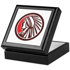 Native American Warrior Chief Circle Keepsake Box
