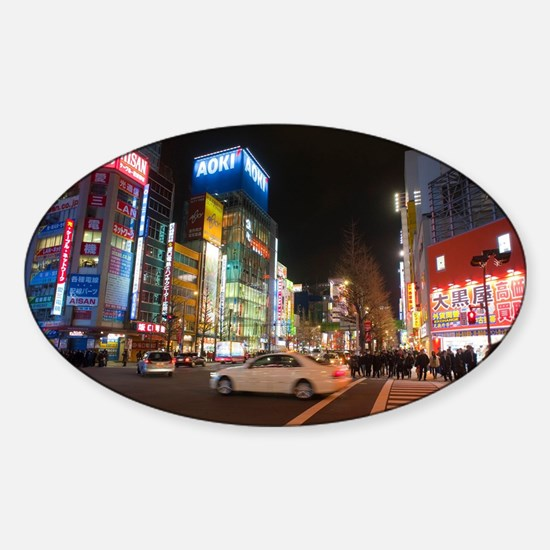 colorful tokyo Sticker (Oval)