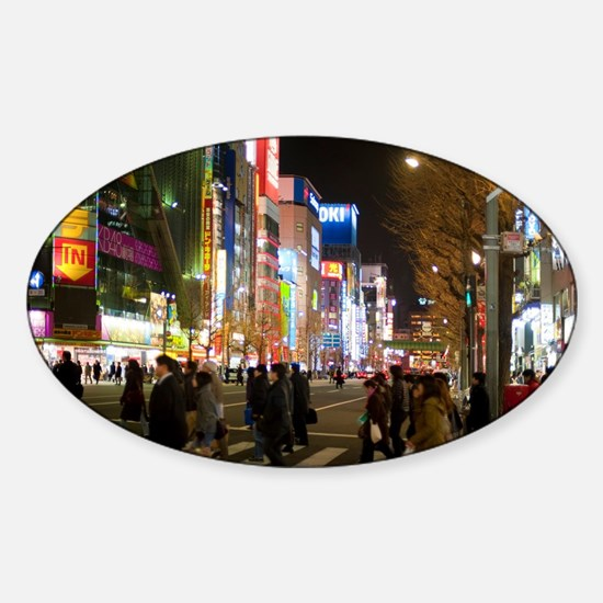 akihabara at night Sticker (Oval)