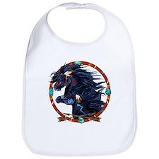 Black Horse Mandala Bib