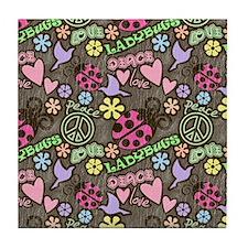 Peace, Love, Ladybugs Pattern Tile Coaster