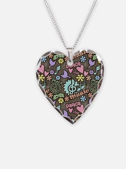 Peace, Love, Music Necklace