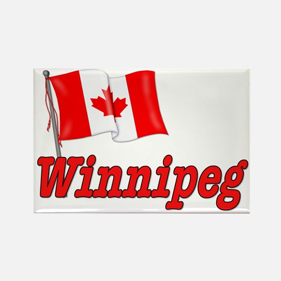 Canada Flag - Winnipeg Text Rectangle Magnet