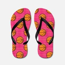 Bright Pink Basketball Pattern Flip Flops