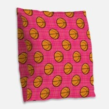 Bright Pink Basketball Pattern Burlap Throw Pillow