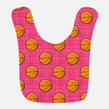 Bright Pink Basketball Pattern Bib