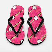 Bright Pink Softball Pattern Flip Flops