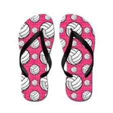 Bright Pink Volleyball Pattern Flip Flops