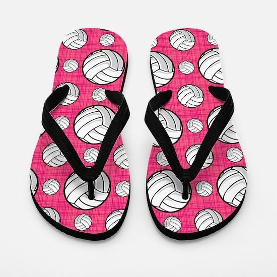 Bright Pink Volleyball Pattern Flip Flops