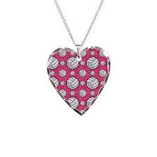 Bright Pink Volleyball Pattern Necklace