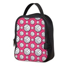 Bright Pink Volleyball Pattern Neoprene Lunch Bag