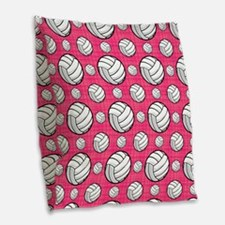 Bright Pink Volleyball Pattern Burlap Throw Pillow