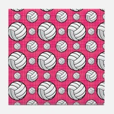 Bright Pink Volleyball Pattern Tile Coaster