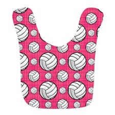 Bright Pink Volleyball Pattern Bib