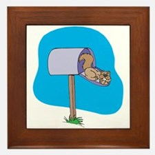 Squirrel Sleeping in Mailbox Framed Tile